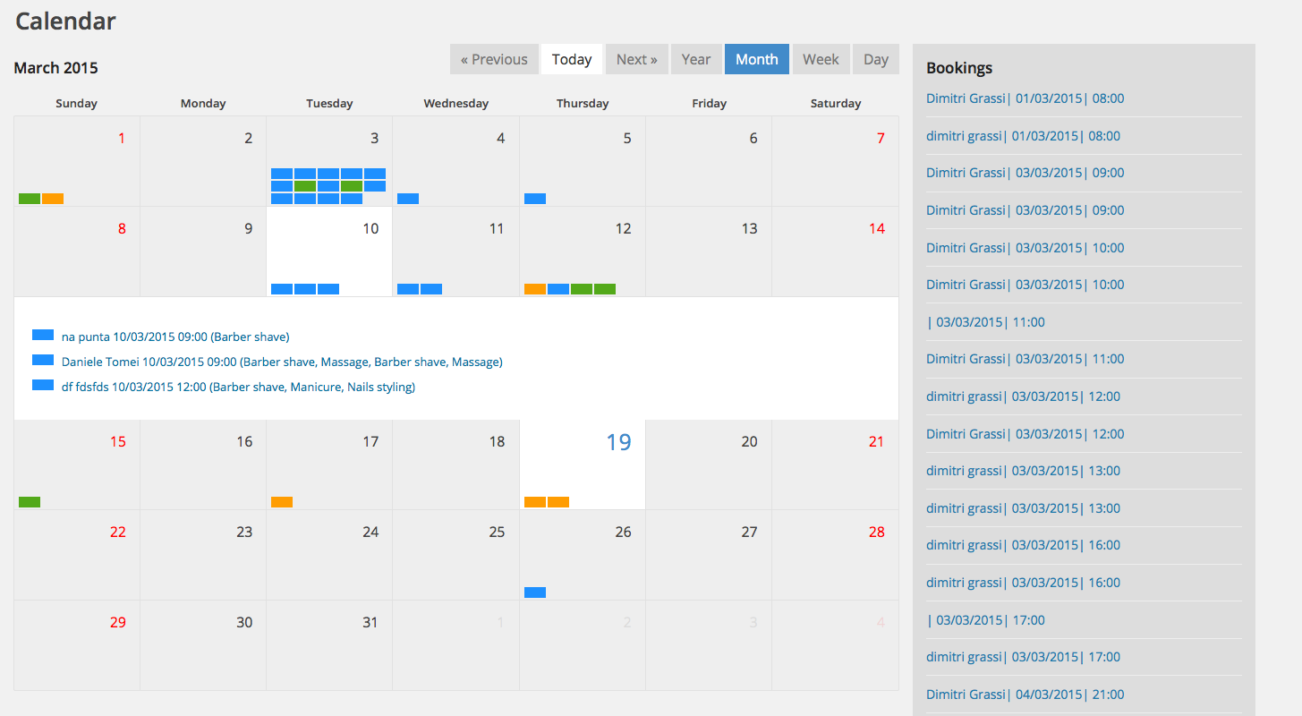 Salon booking - back-end calendar